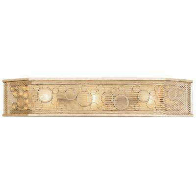 Fascination 3-Light Zen Gold with Recycled Champagne Glass Hex Bath Light