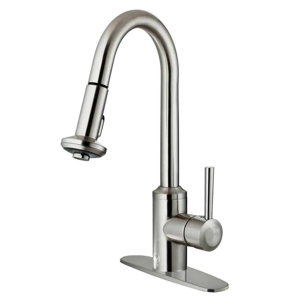 VIGO Astor Single-Handle Pull-Down Sprayer Kitchen Faucet with Deck ...