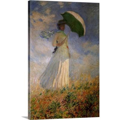 """""""Woman with Umbrella Turned to the Right"""" by Claude Monet Canvas Wall Art"""