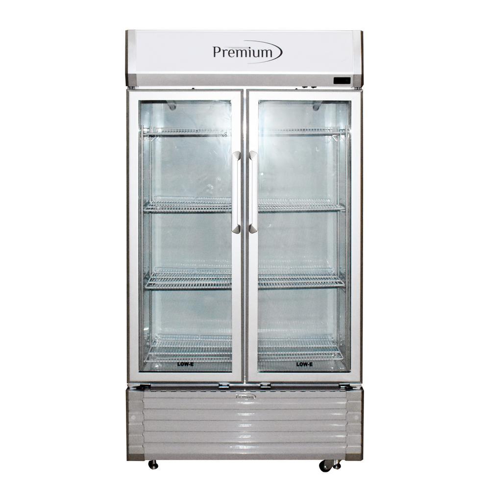 18 cu. ft. Merchandiser Glass Two Door Refrigerator in Grey