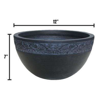 Small 11.8 in. x 11.8 in. x 7.1 in. Granite Lightweight Concrete Scroll Embossed Bowl Planter
