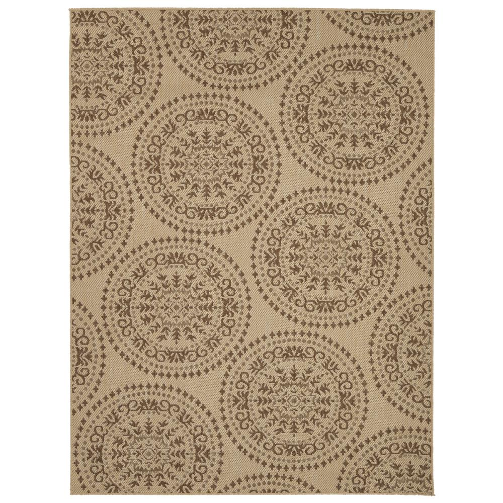 Ottomanson jardin collection beige medallion design indoor outdoor 5 ft x 7 ft