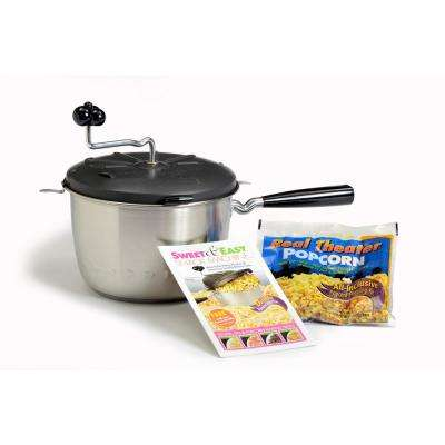 2-Piece Stainless Steel Stovetop Popcorn Popper with Real Theater All-Inclusive Popping Kit