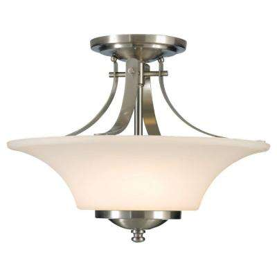 Barrington 15 in. W. 2-Light Brushed Steel Semi-Flush Mount