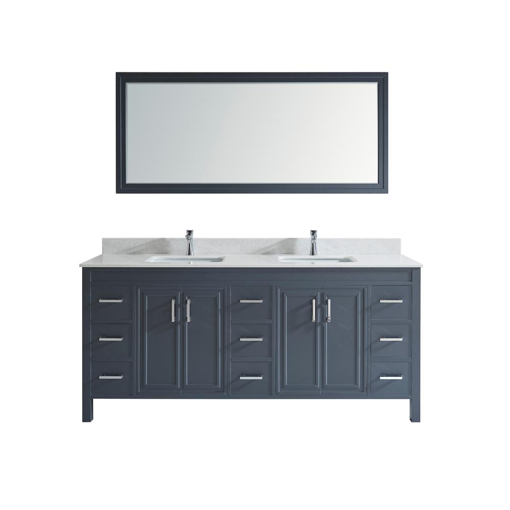 Studio Bathe Dawlish 75 in. W x 22 in. D Vanity in Pepper Gray with Solid Surface Vanity Top in White with White Basin and Mirror