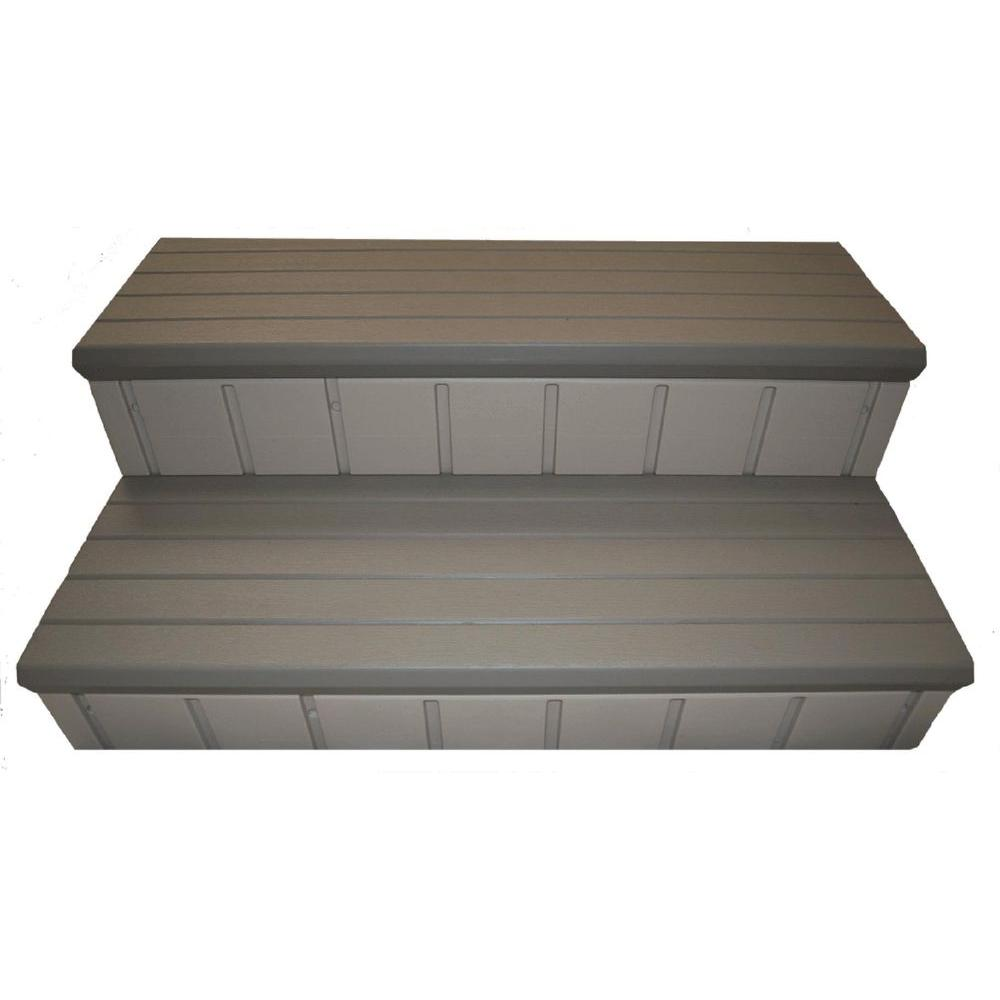 Confer Plastics 36 in. x 14 in. Hot Tub Steps in Gray