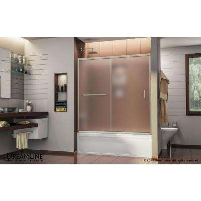 Infinity-Z 56 in. to 60 in. x 58 in. Semi-Framed Sliding Tub Door in Brushed Nickel with Handle