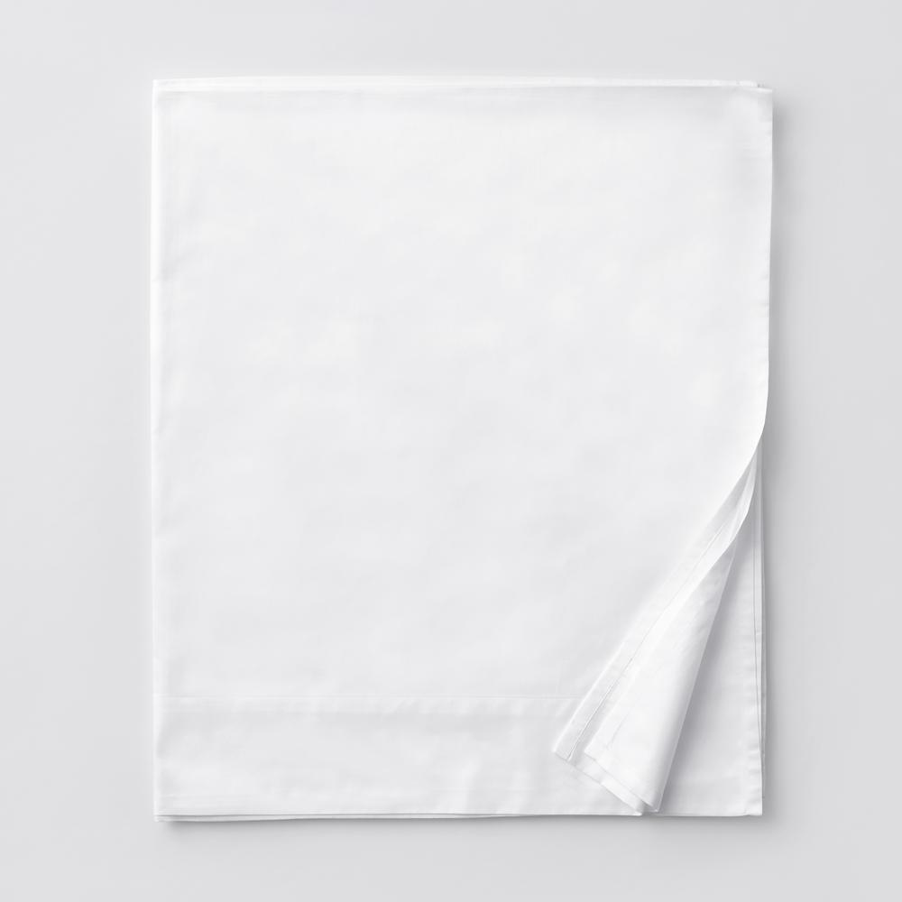 Legends Luxury Solid White 500-Thread Count Cotton Sateen Queen Flat Sheet