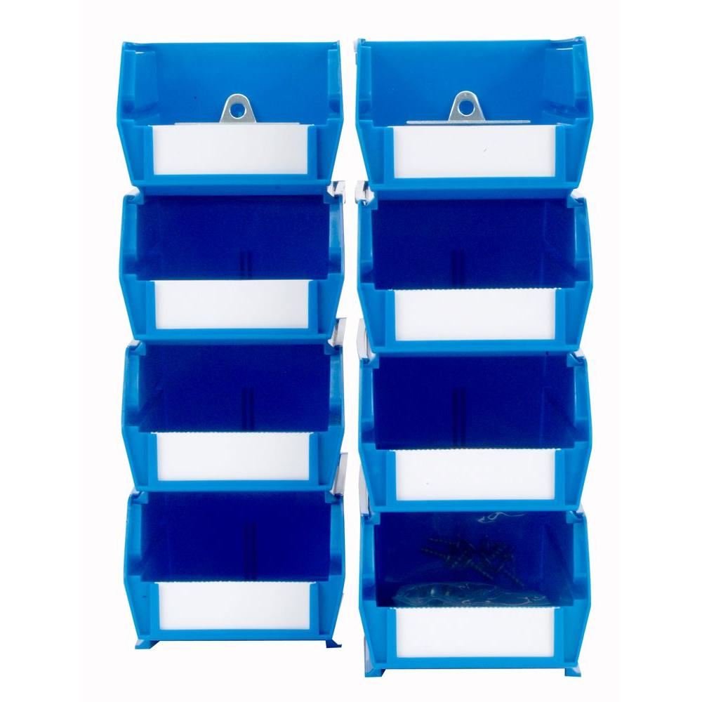 LocBin 4-1/8 in. W x 3 in. H Blue Wall Storage Bin Organizer (8-Piece)