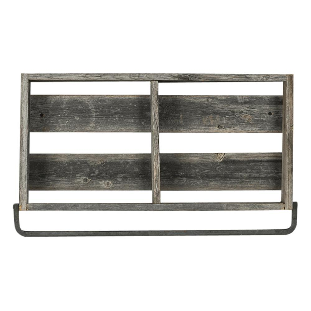 Del Hutson Designs 24 in. x 4 in. Natural Plank Barnwood Towel Rack Decorative Shelf