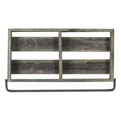 24 In. X 4 In. Natural Plank Barnwood Towel Rack Decorative Shelf