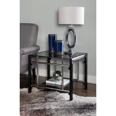 Henny Black Glass End Table