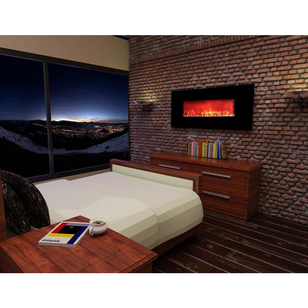 HomComfort Widescreen 58 in. Wall-Mount Electric Fireplace in Black