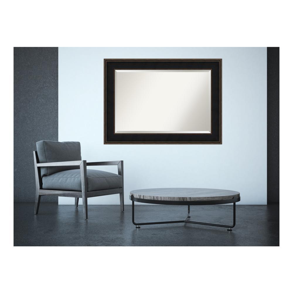 Mezzanine Espresso Wood 44 in. W x 32 in. H Contemporary Framed Mirror