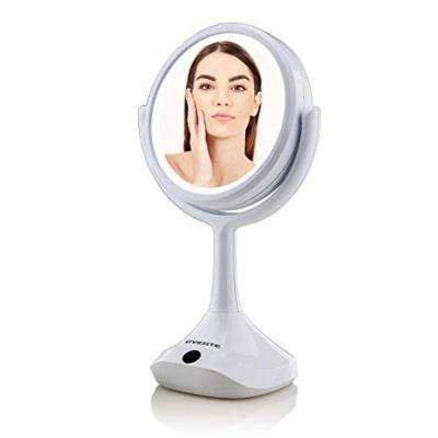 Dual-Sided LED Tabletop Makeup Mirror, 6 Inches, 1x/5x Magnification, White by Ovente (MMT06W1X5X)