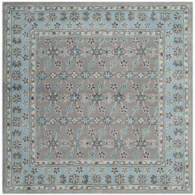 Bella Silver/Light Blue 5 ft. x 5 ft. Square Area Rug