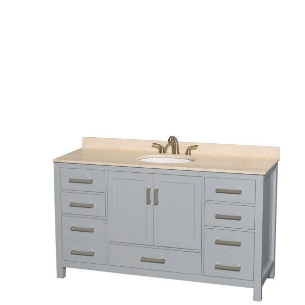 Sheffield 60 in. W x 22 in. D Vanity in Gray with Marble Vanity Top in Ivory with White Basin