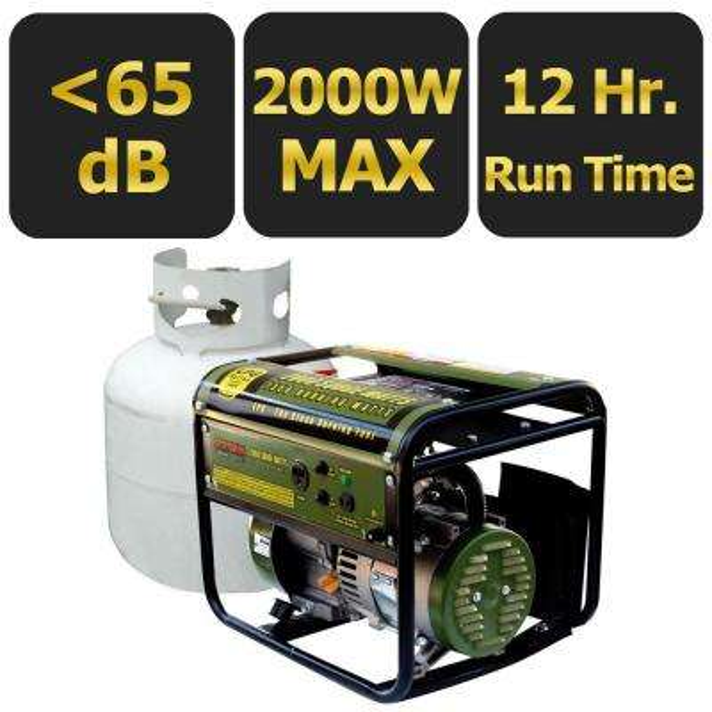 2,000-Watt Clean Burning LPG Propane Gas Powered Portable Generator