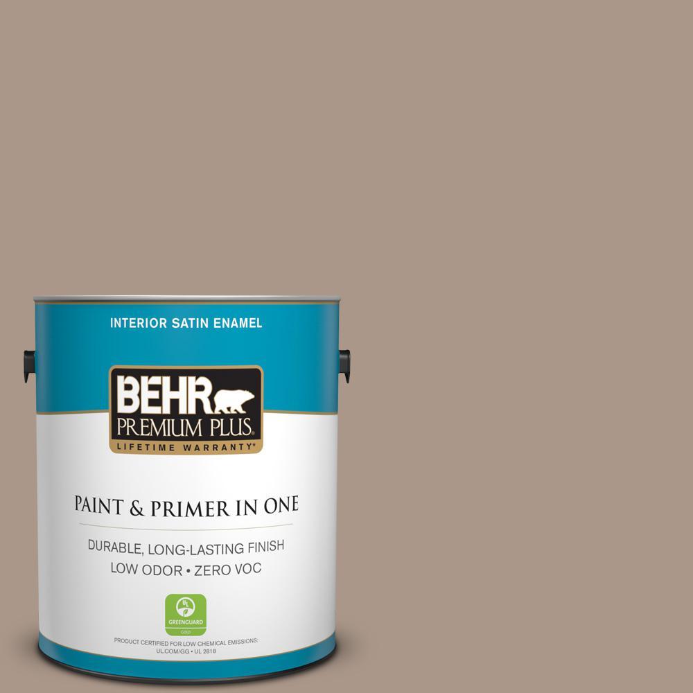 BEHR Premium Plus 1-gal. #N230-4 Chic Taupe Satin Enamel Interior Paint