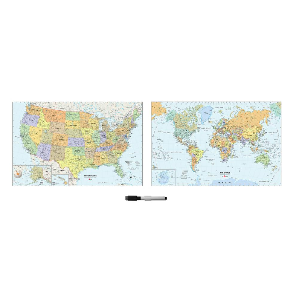 Wall Pops 24 in. x 35 in. US and World Map Wall Decal WP2192 - The ...