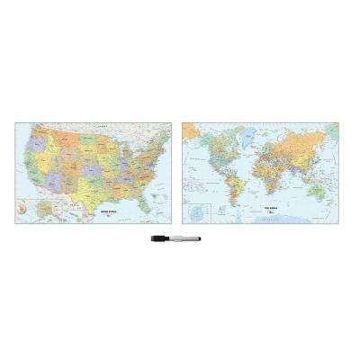 24 in. x 35 in. US and World Map Wall Decal