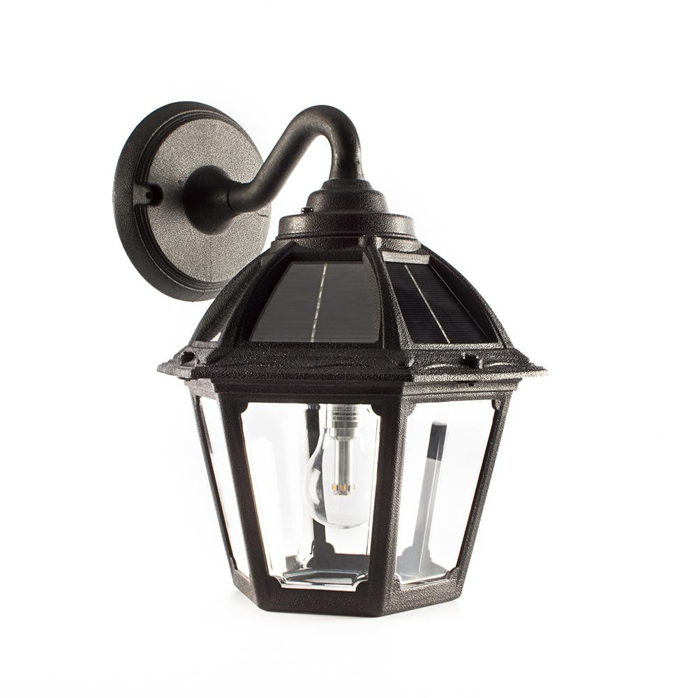 Gama Sonic Polaris 1 Light Black Solar Led Outdoor Wall Mount Sconce With Gs Warm White Bulb