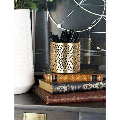 Gold Iron Perforated-Designed Round Pencil Holder