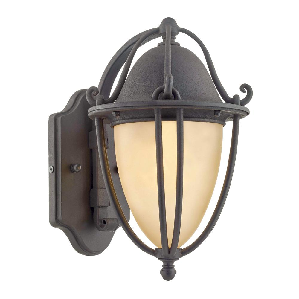 Fifth and Main Lighting Portage 15 in. H 1-Light Natural Bronze Outdoor Wall Lantern Sconce