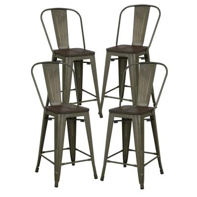 Trattoria 24 in. High Bronze Back Counter Stool with Elm Wood Seat in Bronze (Set of 4)