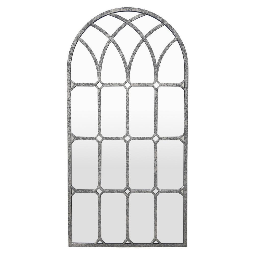 31.5 in. Gray Metal Wall Decor Mirror