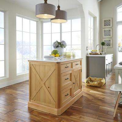 Country Lodge Pine Kitchen Island with Quartz Top