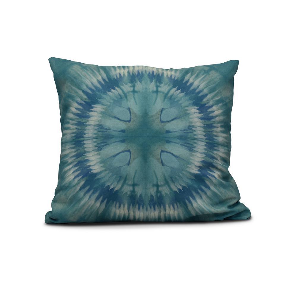 16 in. Shibori Burst Geometric Print Pillow in Green