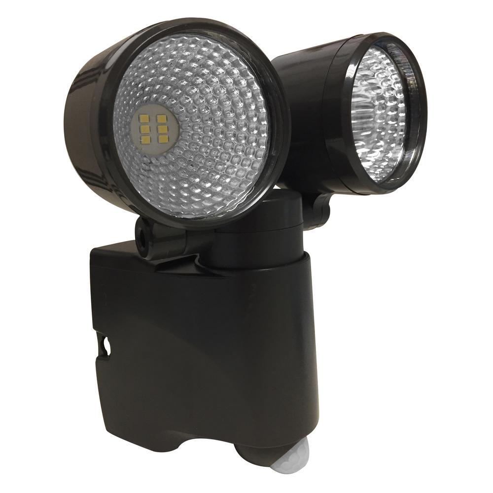 Battery Operated Bronze LED Dual Head Mega Bright Spotlight With Motion Sensor