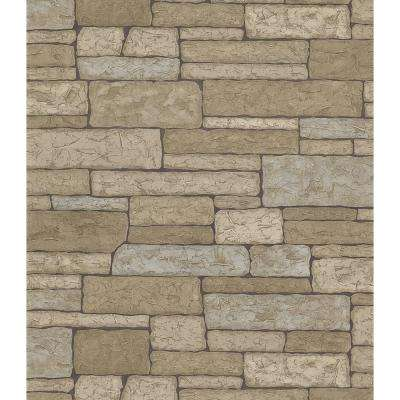 Northwoods Lodge Gray Stone Wall Wallpaper Sample