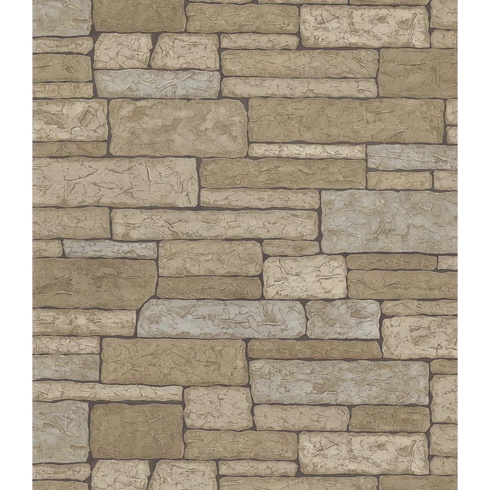 Brewster Northwoods Lodge Gray Stone Wall Wallpaper Sample
