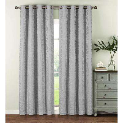 Semi-Opaque Alpine Textured Woven Leaf Jacquard 96 in. L Grommet Curtain Panel Pair, Silver (Set of 2)