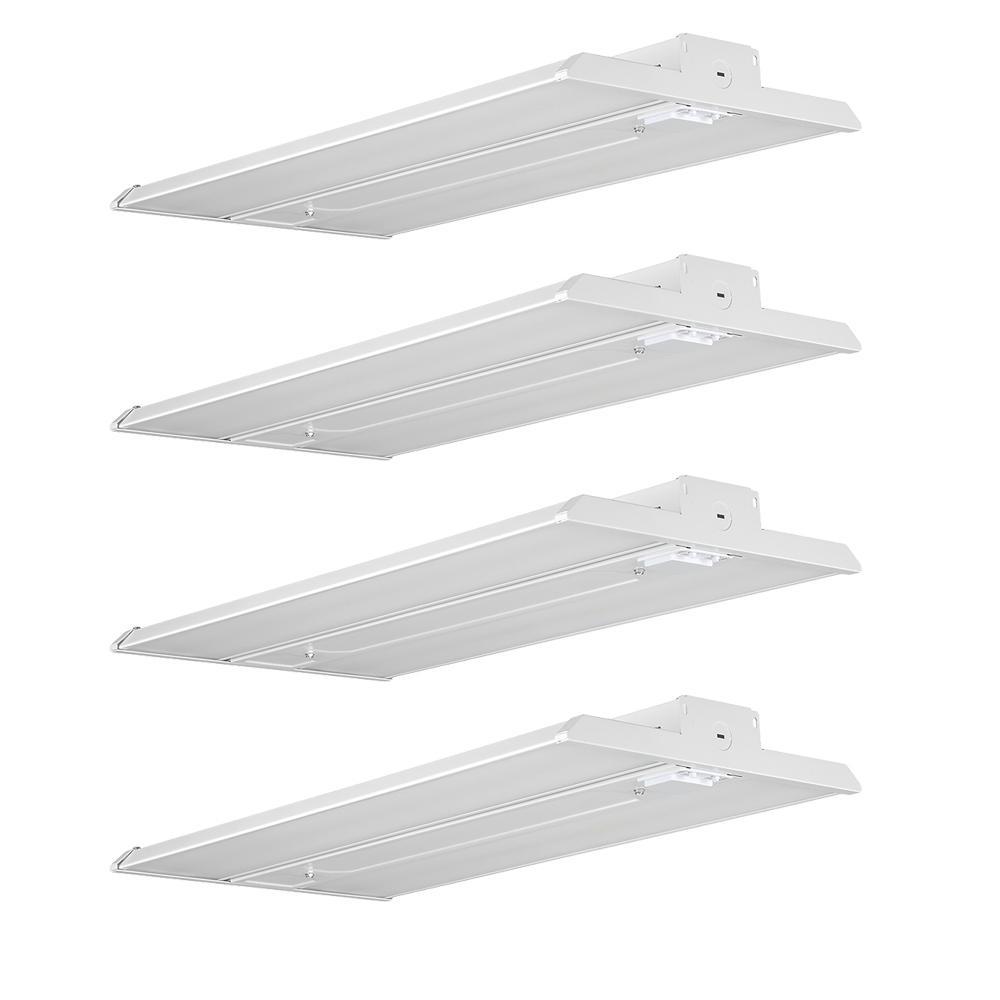 2 ft. 400-Watt Equivalent Integrated LED Motion Sensor White High Bay Light 5000K High Output 18000 Lumens (4-Pack)