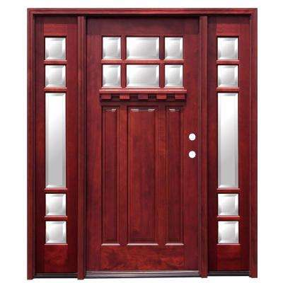 70 in. x 80 in. Craftsman 6 Lite Stained Mahogany Wood Prehung Front Door with Dentil Shelf and 14 in. Sidelites