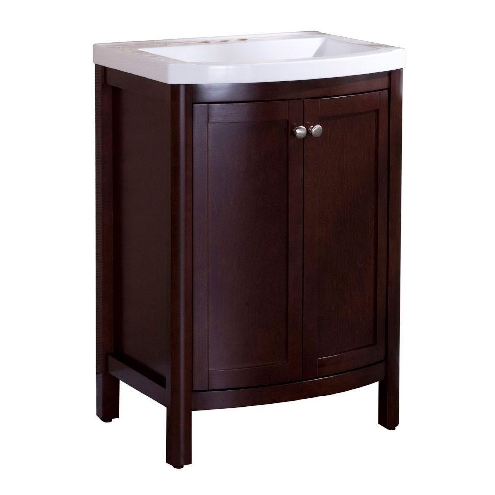 Home Decorators Collection Madeline 24 in. W x 19 in. D Bathroom Vanity in Chestnut with Composite Vanity Top in White