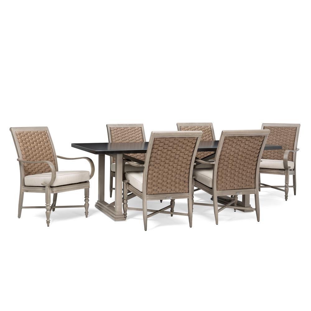 Hampshire Oak Dining Set 7pc: BLUE OAK Saylor 7-Piece Wicker Outdoor Dining Set With