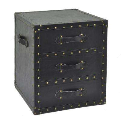 22 in. Black 3-Drawers Chest