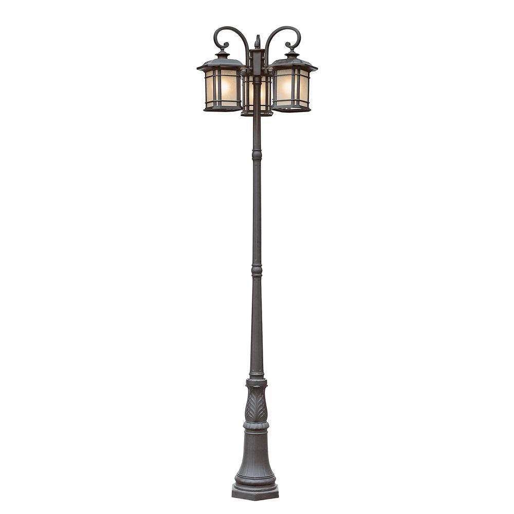 San Miguel 3-Light Outdoor Rust Lamp Post