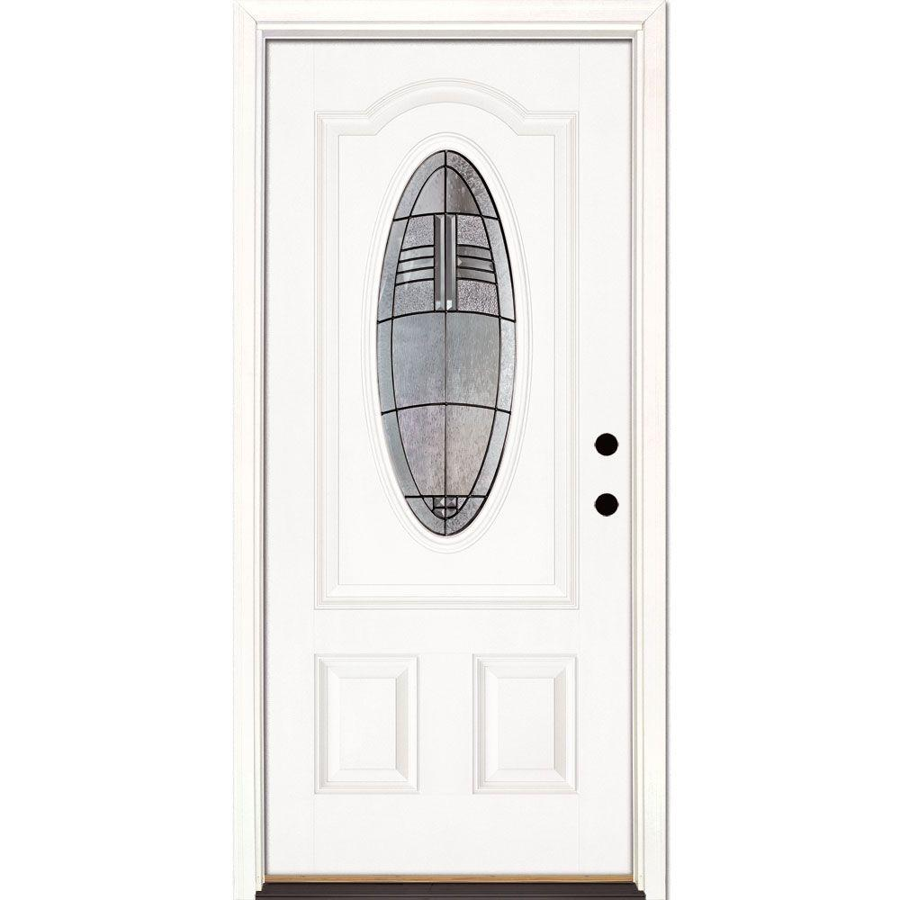 Feather River Doors 33.5 in. x 81.625 in. Rochester Patina 3/4 Oval Lite Unfinished Smooth Left-Hand Inswing Fiberglass Prehung Front Door