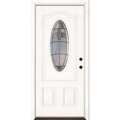 33.5 in. x 81.625 in. Rochester Patina 3/4 Oval Lite Unfinished Smooth Left-Hand Inswing Fiberglass Prehung Front Door
