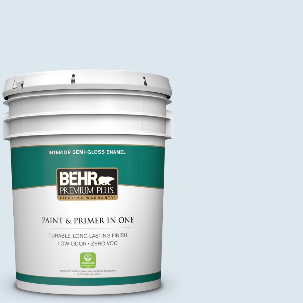 BEHR Premium Plus 5-gal. #540E-1 Wave Crest Zero VOC Semi-Gloss Enamel Interior Paint