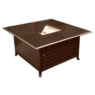 45 in. Square Slatted Aluminum Firepit in Bronze