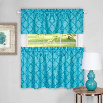 Colby Turquoise Polyester Tier and Valance Curtain Set - 58 in. W x 24 in. L