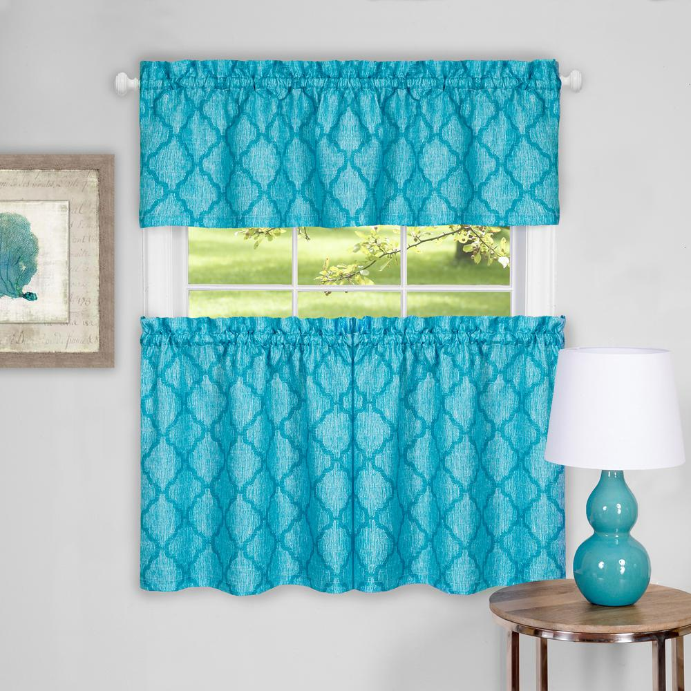 Achim Colby Turquoise Polyester Tier And Valance Curtain Set