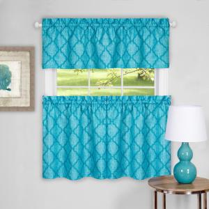 Achim Colby Turquoise Polyester Tier and Valance Curtain Set - 58 inch W x 36 inch L by Achim