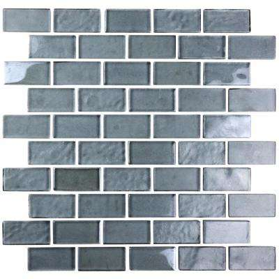 Landscape Sand Gray Linear Mosaic 1 in. x 2 in. Textured Glass Wall Pool and Floor Tile (0.77 Sq. ft.)